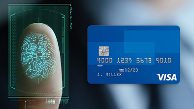 A composite image that includes a biometric fingerprint and a Visa card.