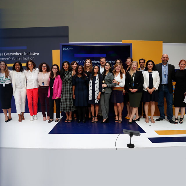 Twelve finalists of visa everywhere initiative on stage.
